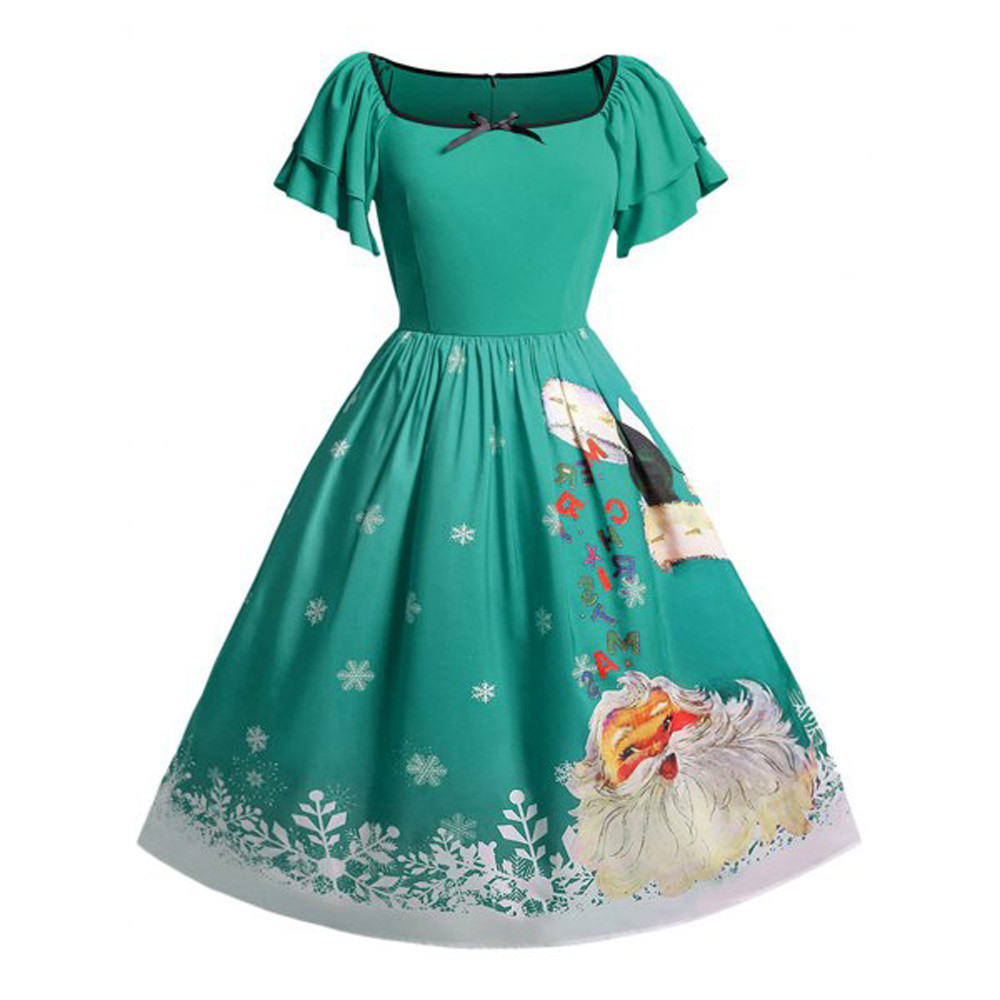 Christmas Ball Gowns Plus Size.Us 8 48 15 Off Plus Size 5xl Christmas Mini Ball Gown Dress Women Xmas Dress Oversize Butterfly Sleeve Bow Santa Claus Print Dresses 10 6 In Dresses