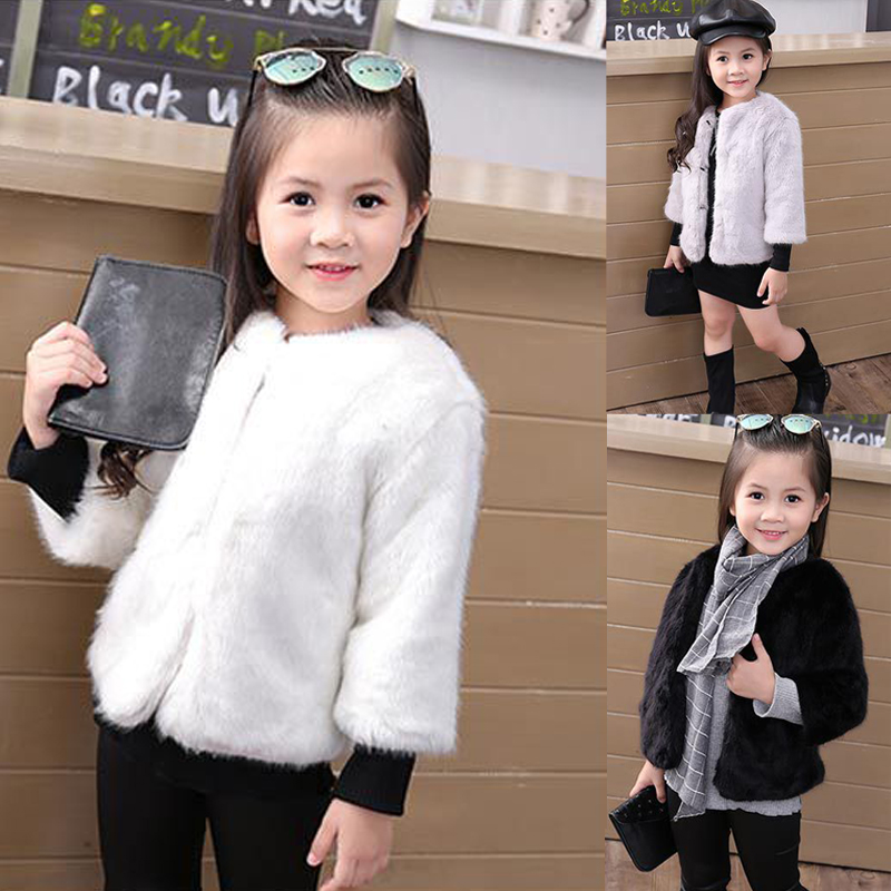 купить fahion Fur Jackets For Girls Autumn winter Kids Jackets Coat cardigan white pink Baby Girl Faux Fur Coat Children Outerwear 2-8Y по цене 1679.54 рублей