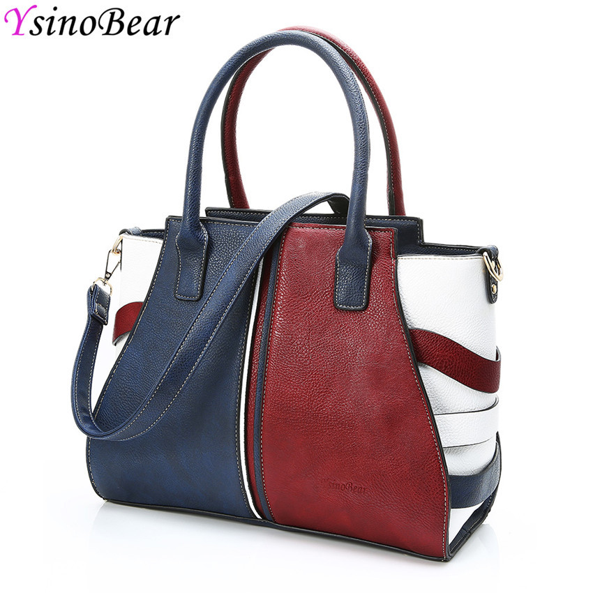 YsinoBear Women's Large Casual Bag Patchwork Tote Bag Women's Handbags 2018 High Quality Leather Classic Ladies Shoulder Bags