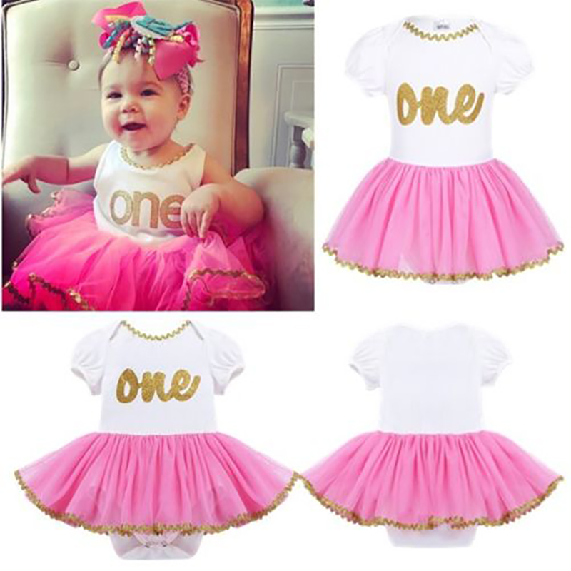 1Pc Cute Baby Girl Clothes 1st Birthday Cake Smash Outfits Infant Pettiskirt Clothing Sets Romper+Tutu Skirt Newborn Baby Suits baby 1 2 st birthday princess clothing sets purple crown romper and tutu skirt shoes infantil newborn girl 0 24 month clothes