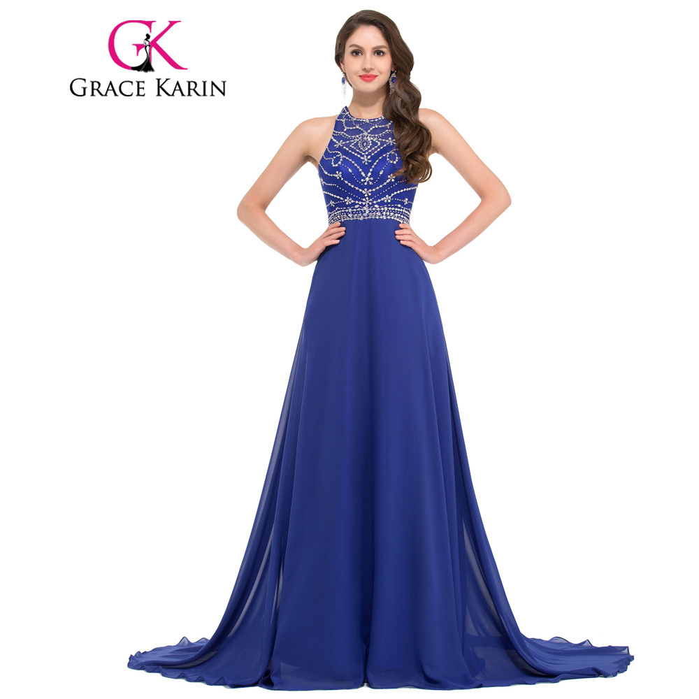 Buy Cheap Grace Karin Evening Dress Long Chiffon Royal Blue Formal Party Gowns Vestido Festa Backless Bead Dinner Special Occasion Dress