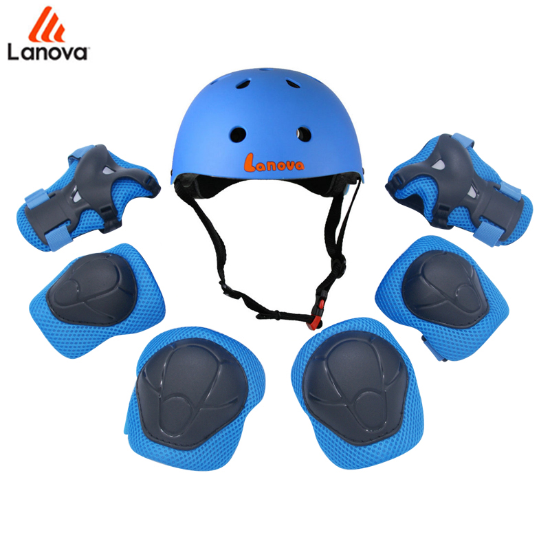 LANOVA 7pcs Set Protective Gear Set Kids Knee Pads Elbow Pads Wrist  Protector Protection helmt for Scooter Cycling Roller Skate 8360f9bb19