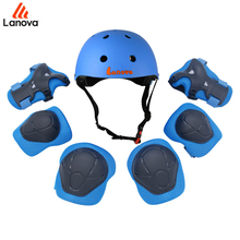 LANOVA 7pcs/Set Protective Gear Set Kids Knee Pads Elbow Pads Wrist Protector Protection helmt for Scooter Cycling Roller Skate