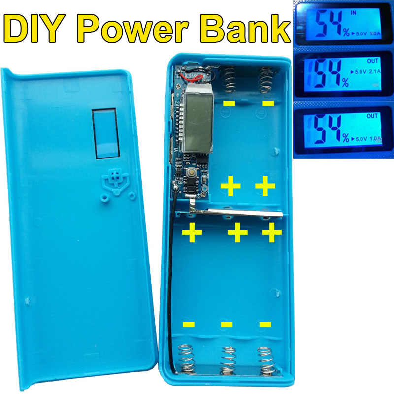 DIY Box Tragbare Externe Batterie Handy-ladegerät Power Bank Box Shell 5x18650 diy energienbank mit LCD-Display