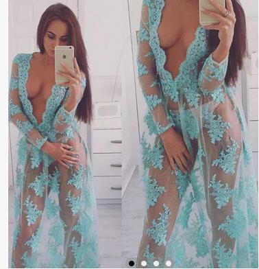 2018 NEW Sexy Lingerie Hot Exotic Apparel Lace Sexy Costumes Porn Transparent Evening Skirt Sky Blue Deep V Long Dress For Women