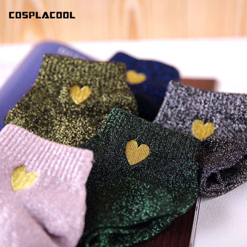 [COSPLACOOL]Embroidery Heart Love Glitter   Socks   Women Fashionable Silver Gold Silk Colorful Shining Sox Shiny Calcetines Mujer