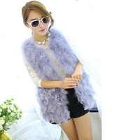 New 2018 Hot Sale Women Winter 100% natural ostrich feathers turkey feather fur vest fur coat Fur Coat fashion waistcoat gilet