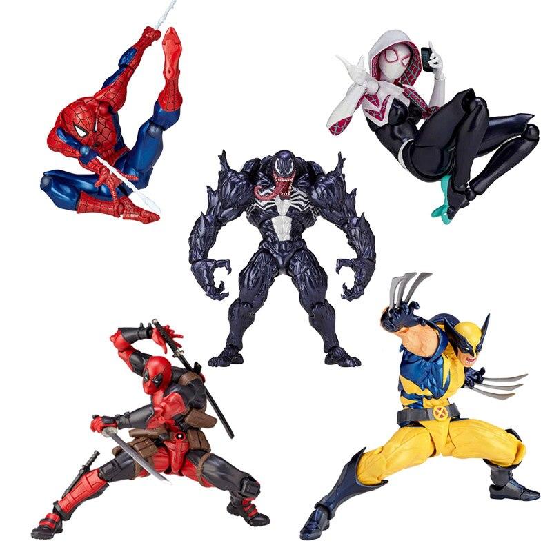Marvel 16 cm Univers de Super Héroes Deadpool veneno de araña hombre araña gwen de hierro hombre Magneto carnicería conjunto Movimiento figura de acción juguetes