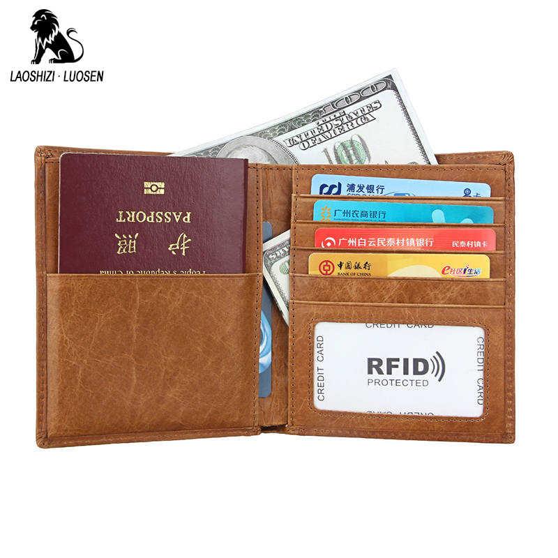 e12b737d7c68 RFID Men Passport Cover Genuine Leather Passport Holder Travel Wallets Men  Card Credit Card Holder Porte Carte Business