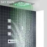 SKY RAIN 304SUS 500X500mm Multi Function Rainfall Lateral Jets SPA Spray Shower Head Set with Thermostatic Valve