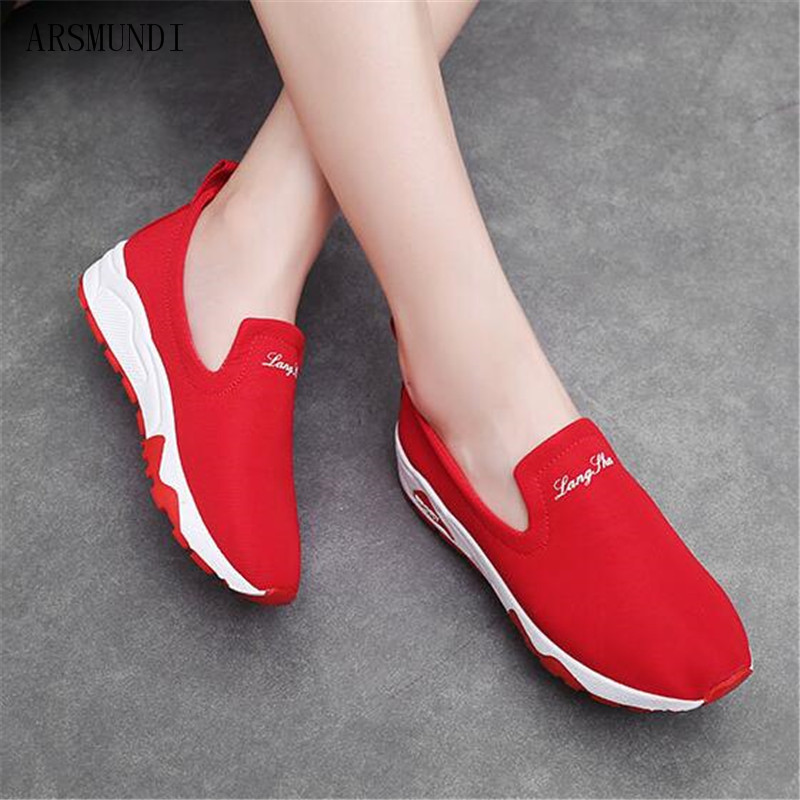 ARSMUNDI 2019 Women Sneakers Vulcanized Shoes Casual Slip On Ladies Flats Canvas Trainers Soft Walking Footwear Zapatos M382 in Women 39 s Vulcanize Shoes from Shoes