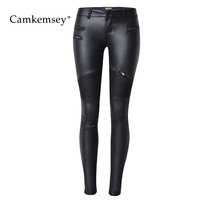 2018 New Moto Style Zippers White Black PU Leather Pants Female S 4XL Plus Size Sexy Low Waist Stretch Skinny Pants Trousers