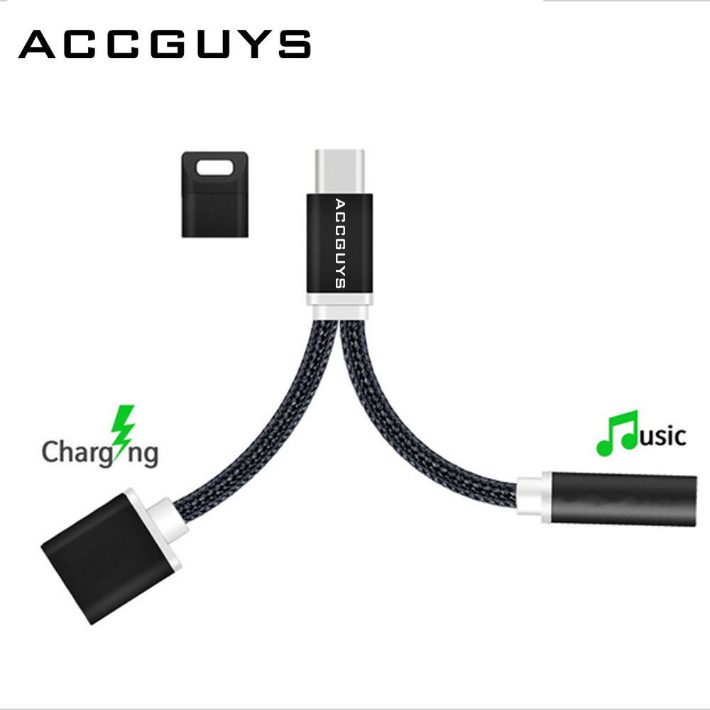 ACCGUYS 2 in 1 USB-C Cable USB Type C to 3.5mm Headphone Jack Charging Adapter for Le 2, Le 2 pro, Le Max 2, Le pro 3,Xiaomi Mi6