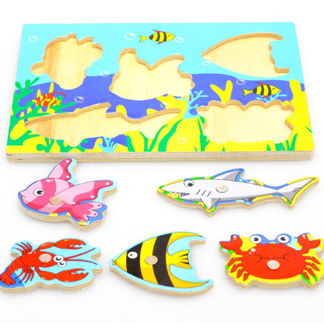 New Wooden Magnetic 3D Jigsaw Children Educational Fishing Puzzles Baby Toys Wooden Funny Game Toy For Kids Baby Gifts BM88