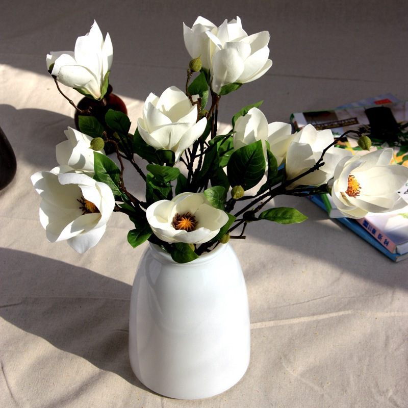Superior 1PC Artificial 2 Heads Magnolia Silk Flower Wedding Flower Arrangement Home  Decoration 3 Colours(China