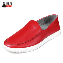 US Size Men Driving Shoes Full Grain Leather Light Weight Red Casual Lazy Man Slip On Boat