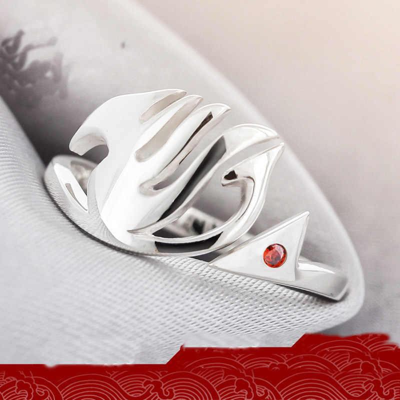 ใหม่ Anime Fairy Tail แหวนเงินสเตอร์ลิงปรับ Natsu Dragneel Guild คอสเพลย์การ์ตูน 925 เงินฝังสีขาว/สีแดงแหวน Zircon