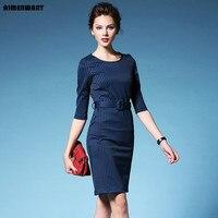 AIMENWANT Europa 2017 otoño vestido de las señoras azul marino rayas dividir vestidos de trabajo uk negro alta cintura vestidos formales baratos como regalos