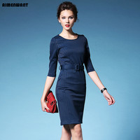 European 2016 Autumn Dress Ladies Navy Blue Striped Split Work Dresses Uk Black High Waist Cheap