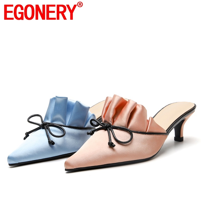 EGONERY woman shoes 2019 summer new fashion sexy pointed toe woman slippers outside high heels ruffles plus size ladies shoesEGONERY woman shoes 2019 summer new fashion sexy pointed toe woman slippers outside high heels ruffles plus size ladies shoes