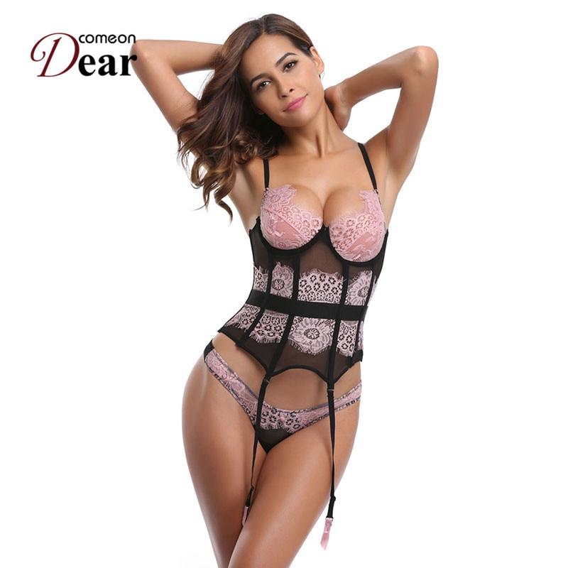 Comeondear AA2247 Women Corselete Feminino Espartilhos Plus Size Lace Corsets Bustier Lingerie Corset Sexy Pink S-2XL Corset