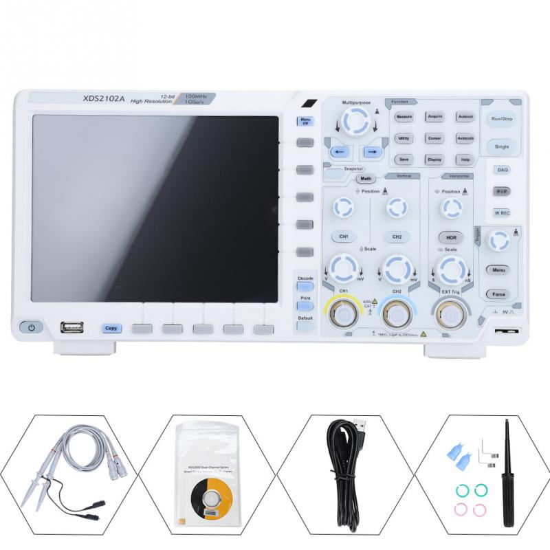 Owon XDS2102A 100MHz High Resolution ADC Digital Oscilloscope Tools ADC Decode EU Plug High Profeesinal Measuring