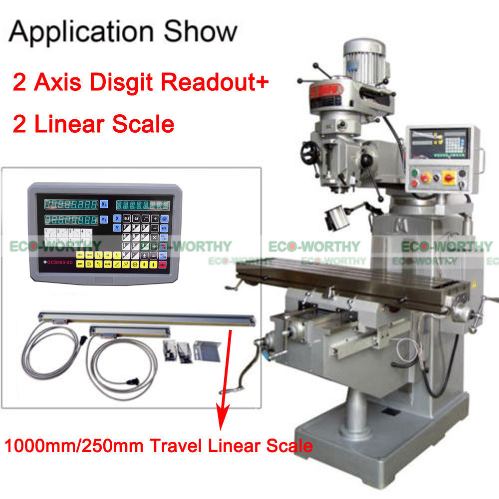 5 Um DRO 2 Axis Digital Readout And TTL Linear Scale for Mill Milling Bridgeport hxx new dro display digital readout gcs900 2d with one piece for all machines