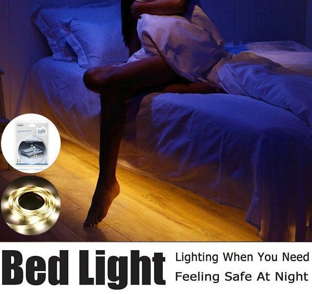 Свет в ночь полосы Смарт Включить от fita De LED Luz водонепроницаемый SMD2835 светодиодные полоски Спальня датчик движения Светодиодные ленты свет