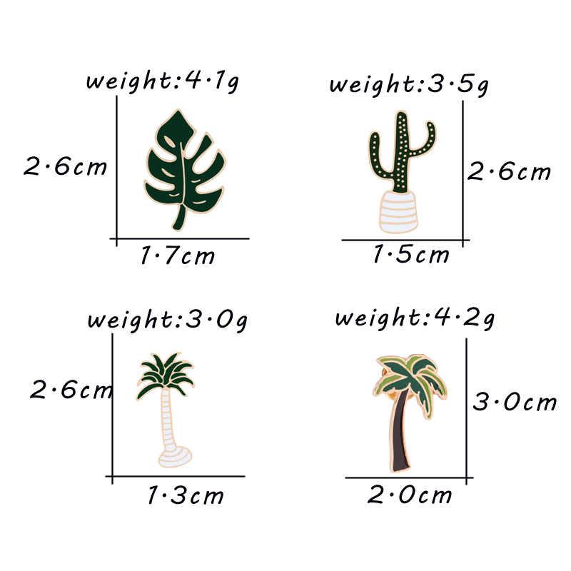 Newes Kartun Tanaman Bros Wanita Kerah Pin Kelapa Pohon Kaktus Daun Jaket Kemeja Kerah Enamel Lencana Pin Perhiasan Anak-anak Hadiah