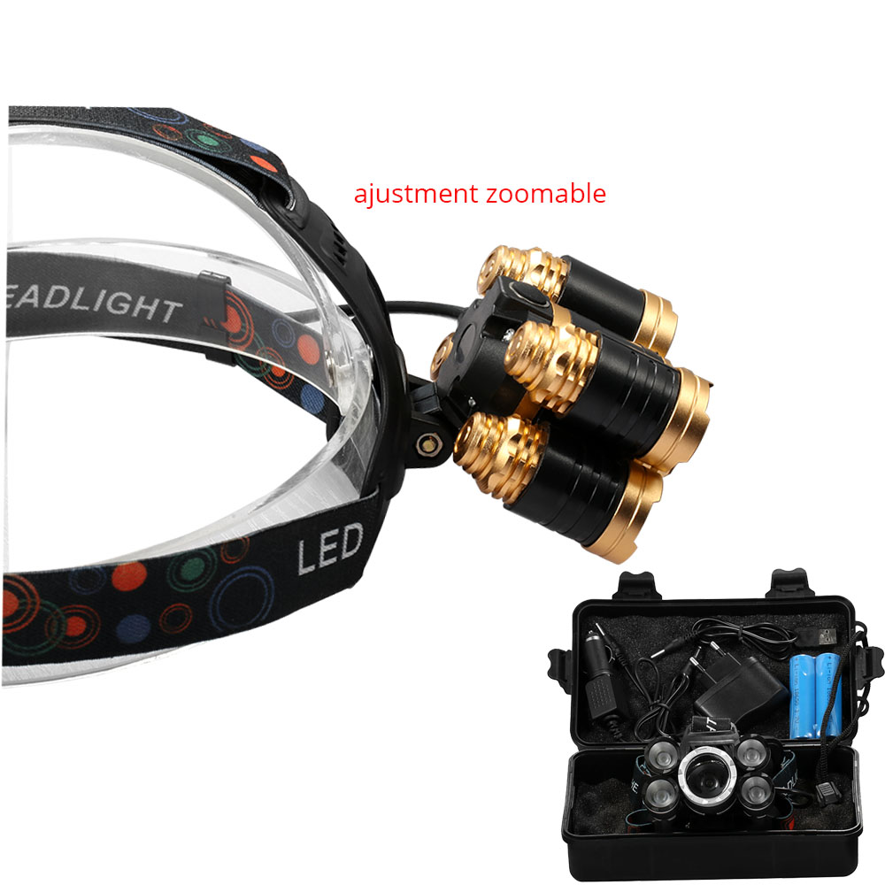 CREE XML 5* T6 Headlight 40000Lums Zoomable focus Headlamp Rechargeable flashlight Head lamp By 2*18650 Battery 2018 newest