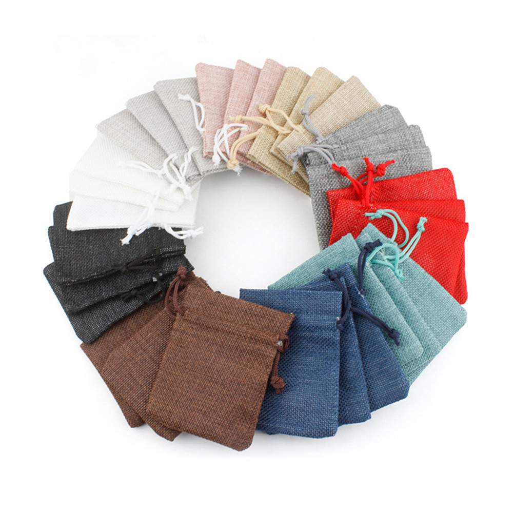 Wedding Gift Pouches: 2PCS Cotton Linen Gift Pouch Bags Drawstring Velvet Bag