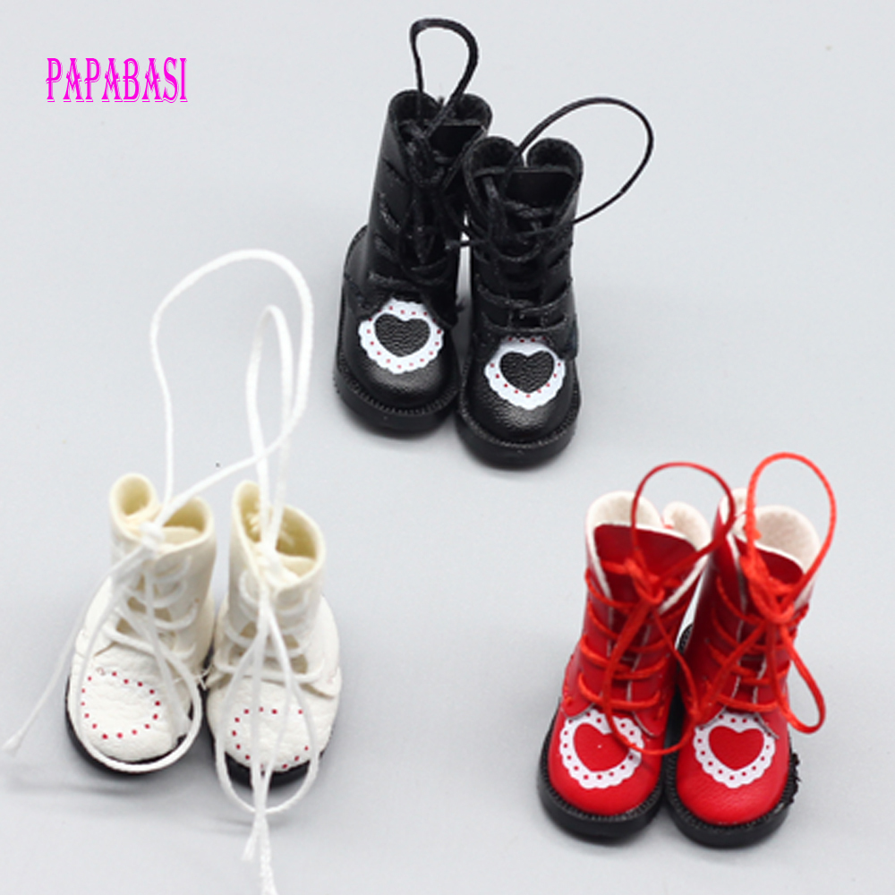 1pair PU Leather 1/8 Doll Boots For BJD 1/6 Dolls Shoes For Blythe Licca Jb Doll Mini Boot 3.2cm Et004