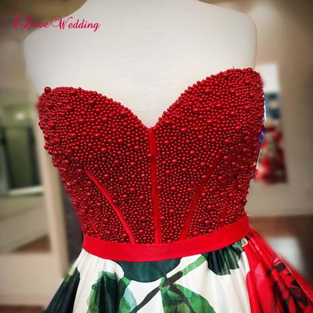 2020 una línea Floral Vestidos De graduación cariño perla roja con cuentas cintura Natural Vestidos Largos De Fiesta Elegante Formal largo - 5