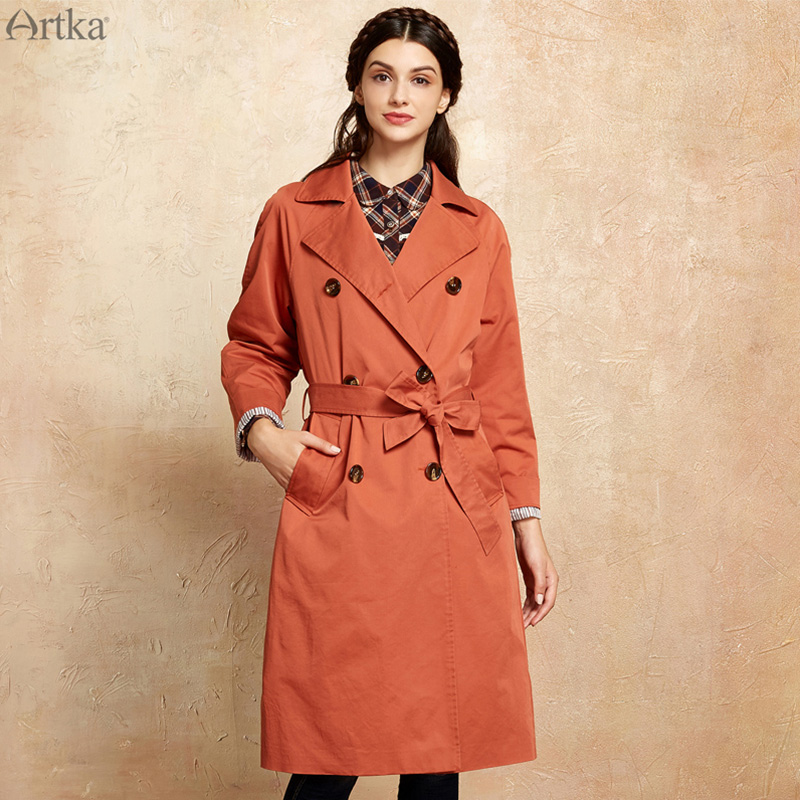 ARTKA Women Trench Coat British Style Autumn Trench For Women 2018 Double Breasted Female Outwear Belt Trench Plus Size FA10079Q