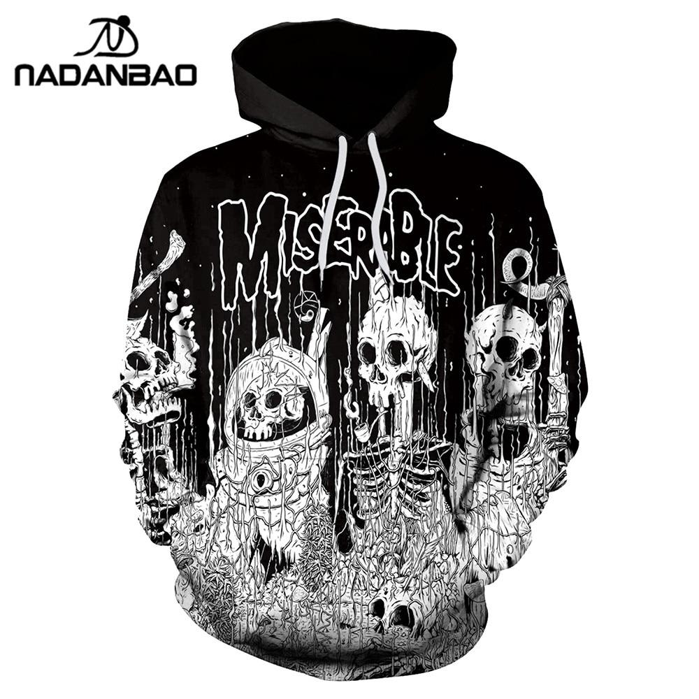 NADANBAO New Style Hiphop Hoodies Halloween Skeleton 3D Printing Funny Autumn Sweatshirt Thin Hooded Coats Casual Sportswear