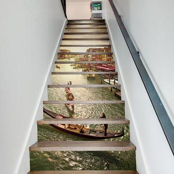 13 шт./компл. DIY 3D наклейки на лестницу водопад лестницы наклейки осень пол Настенный декор наклейки украшение для гостиной