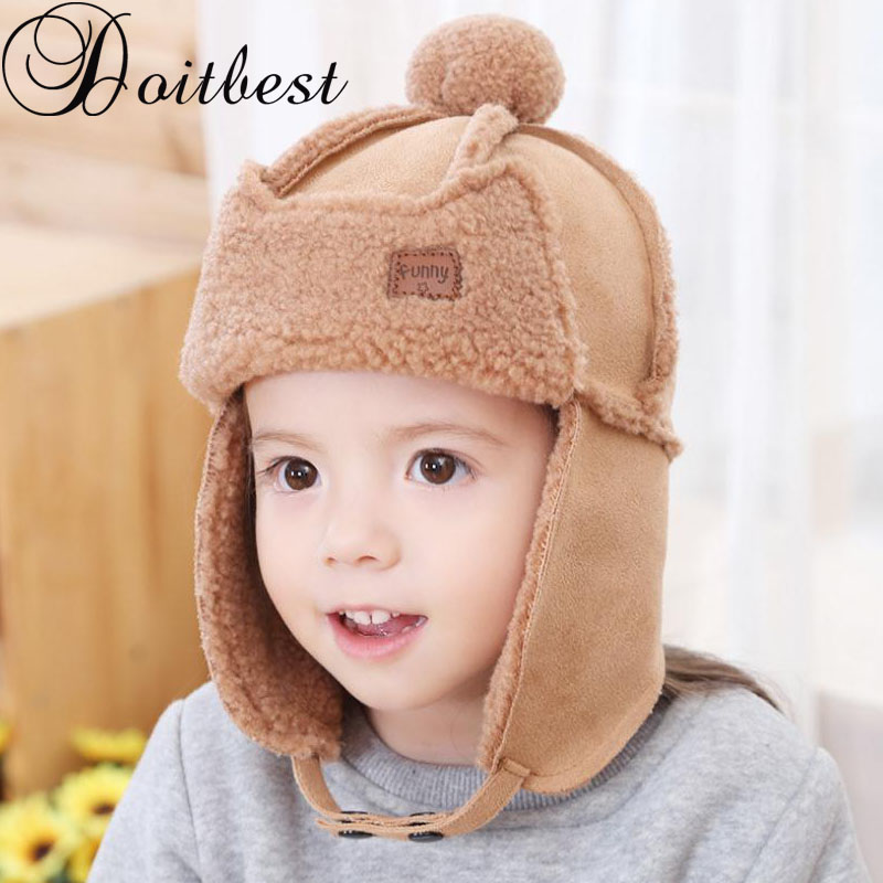 Doitbest 2 to 6 years old Baby boy Bomber hat Soft fur inside Winter Beanies Child Thicken ears hats kids girls Earflap Caps