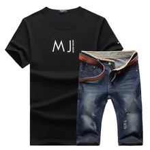 2017 Summer time the brand new trend males Spherical collar printed letters brief sleeve T-shirt informal jean shorts sporting swimsuit