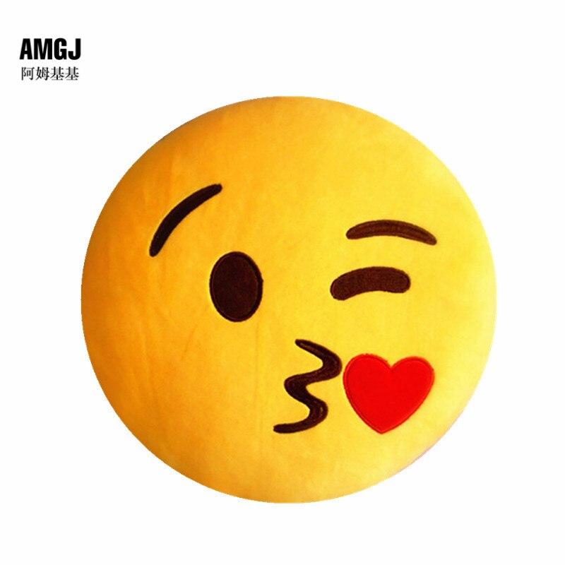 Hot Emoji Blow Kisses Emoticon Yellow Round Plush Stuffed