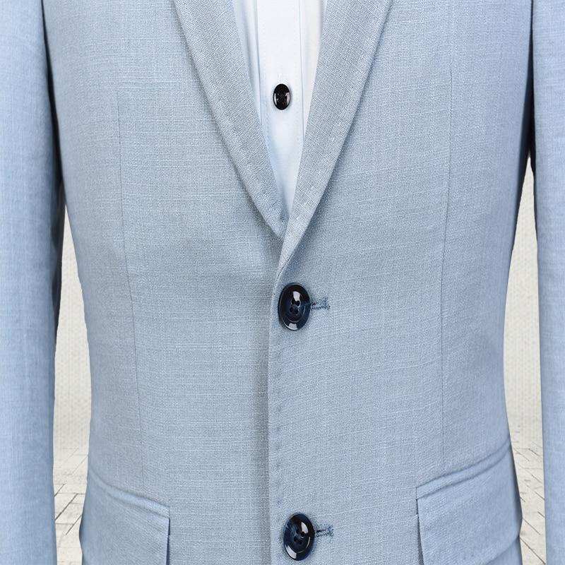 Latest Coat Pant Designs Light Blue Linen Suit Men Slim Fit Style ...