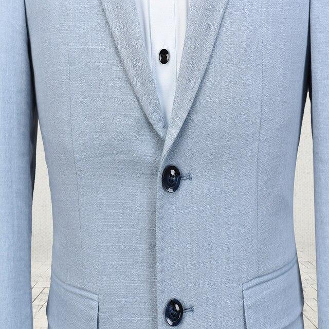 Online Shop Latest Coat Pant Designs Light Blue Linen Suit Men ...