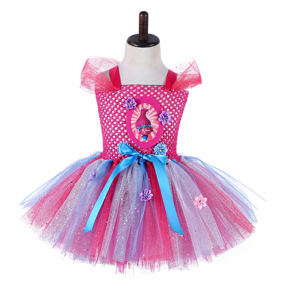Girls Trolls Tutu Dress For Pageant Bling Ball Suknia Cute Cartoon Poppy Kids Fluffy Birthday Party Dress Girls Costume