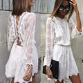 White lace dress 2017 mujeres elegantes de la vendimia de manga larga hollow out sin respaldo correa cruzada túnica shirt dress