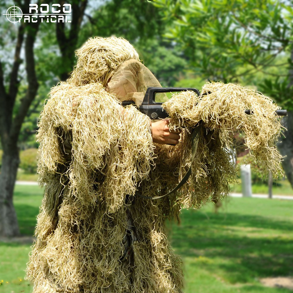 ROCOTACTICAL Advanced 3D Camouflage Suit Lightweight Military Sniper Ghillie Suit Airsoft Paintball Wargame Camo Suit Woodland