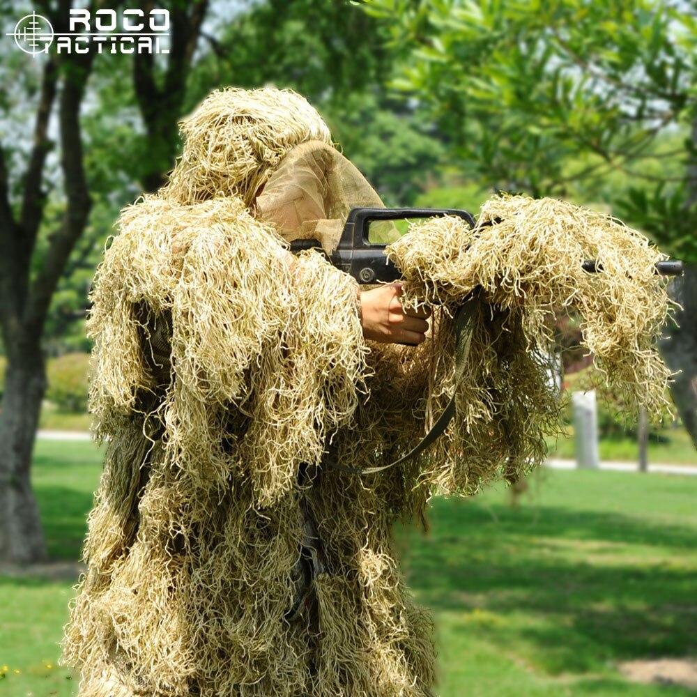 Costume de Camouflage 3D avancé tactique costume de Sniper militaire léger Ghillie Airsoft Paintball Wargame costume de Camouflage boisé