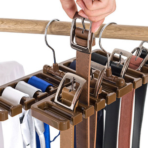 Image 2 - Multifuctional Storage Rack Tie Belt Organizer Rotating Ties Hanger Holder Wardrobe Closet Storage Holder with Metal Hanger