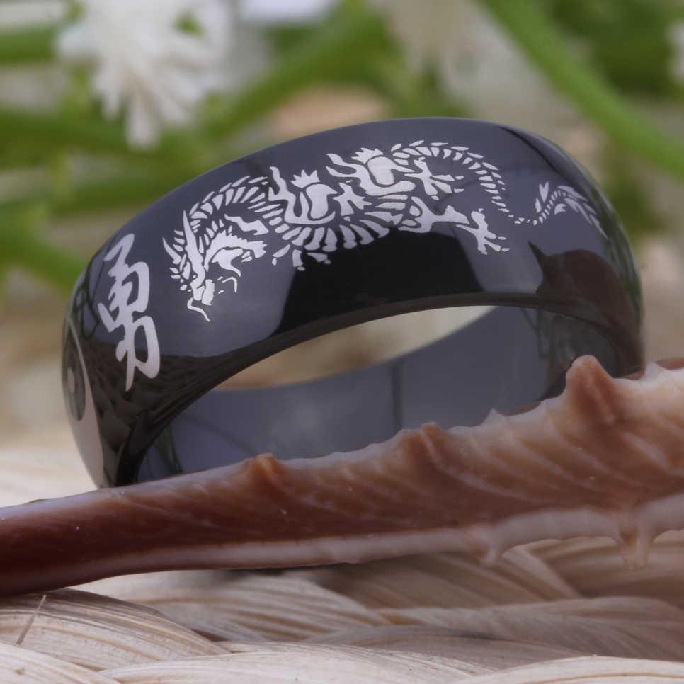 Gratis Pengiriman PERHIASAN Hot Sale 8 MM Comfort Fit Tai Chi YGK Kanji Naga Hitam Dome Super Tungsten Wedding Ring