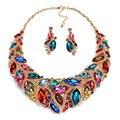 Colorido de la manera Rhinestone Nupcial Conjunto Joyería de La Boda Accesorios Partido Prom Chapado En Oro Aretes Collar Para Novias Mujeres