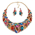 Fashion Colorful Rhinestone Bridal Jewelry Set Wedding Prom Party Accessories Gold Plated Necklace Earring Set For Brides Women