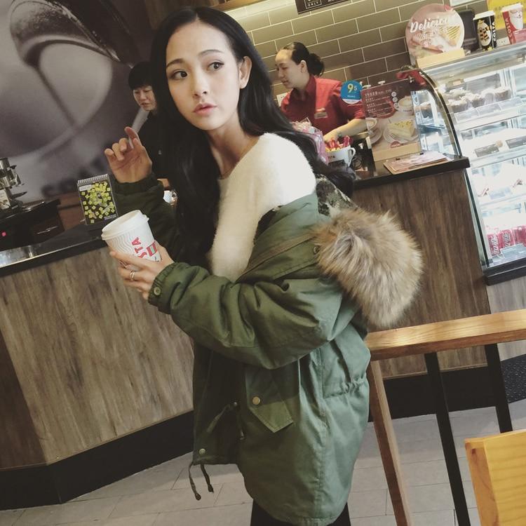 Ltime-limited 2015 Real Fur Big Collar Thick Green Lamb Cotton Frock Coat Medium Long Womens Winter Jackets Parka Plus Size